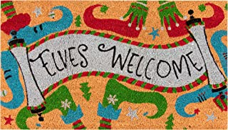 Juvale Natural Coir Door Mat - Merry Christmas Indoor Outdoor Welcome Doormat, Easy Clean, PVC Anti-Slip Backing Front Entry Mats, Holiday Elves Welcome Design, Brown, 17.2 x 30 x 0.5 Inches
