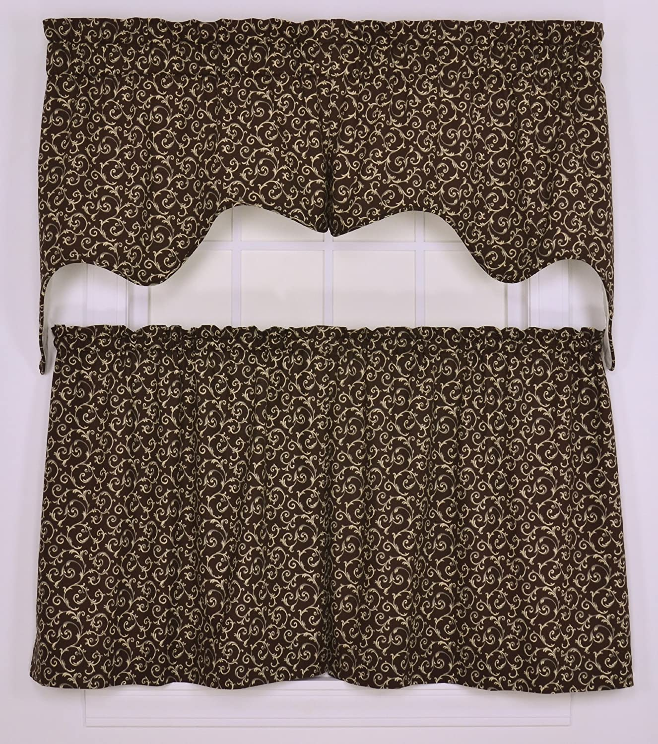 Tremblay Small Scale Scroll Empress 2 Piece Lined Swag Curtain Set Brown Home Kitchen