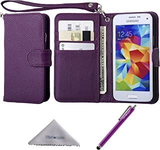 Wisdompro S5 Mini Case, Premium PU Leather Protective Folio Flip Wallet Case with Credit Card Holder/Slots and Wrist Lanyard for Samsung Galaxy S5 Mini G800F G800H G800H/DS (NOT Fit S5)- Purple