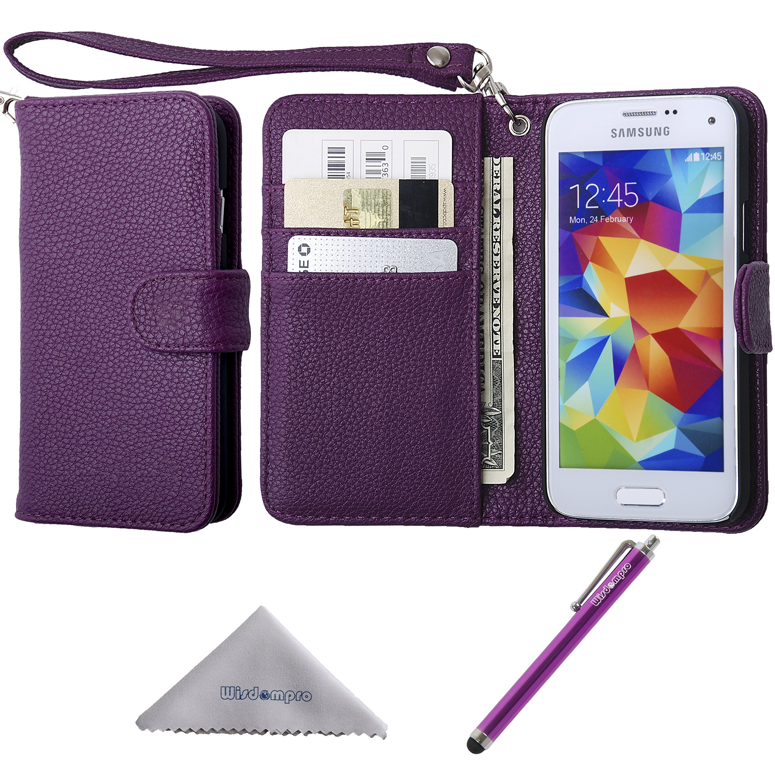 s5 mini cases amazon coms5 mini case, wisdompro premium pu leather protective [folio flip wallet] case with