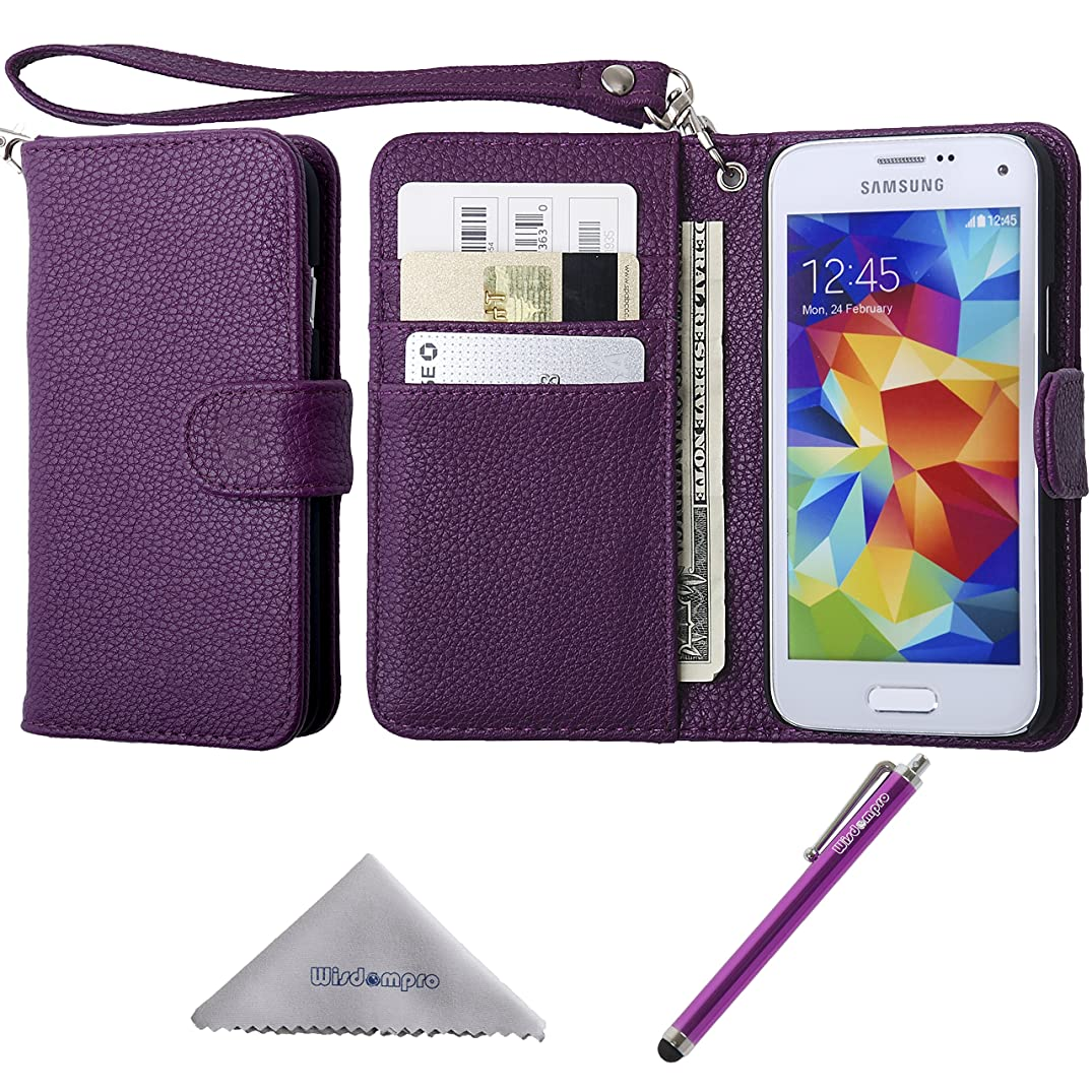S5 Mini Case, Wisdompro Premium PU Leather Protective [Folio Flip Wallet] Case with Credit Card Holder/Slots and Wrist Lanyard for Samsung Galaxy S5 Mini G800F G800H G800H/DS (NOT Fit S5)- Purple