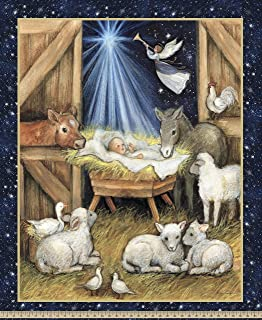 Springs Creative Products Group Christmas Nativity Barn Panel Fabric, Multi