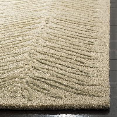 Martha Stewart Safavieh Collection MSR3612B Premium Wool and Viscose Chevron Leaves Oolong Tea Green Area Rug (8' x 10')