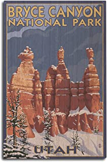 Bryce Canyon National Park, Utah - Winter Scene #2 (10x15 Wood Wall Sign, Wall Decor Ready to Hang)