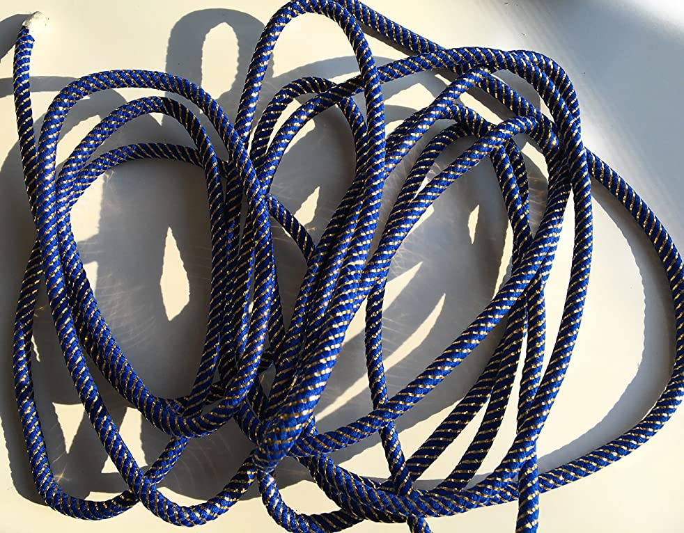 Navy Blue CORD with Gold Metallic Trims 3/8'' (9mm) Weave Decortive Rope 5 yards