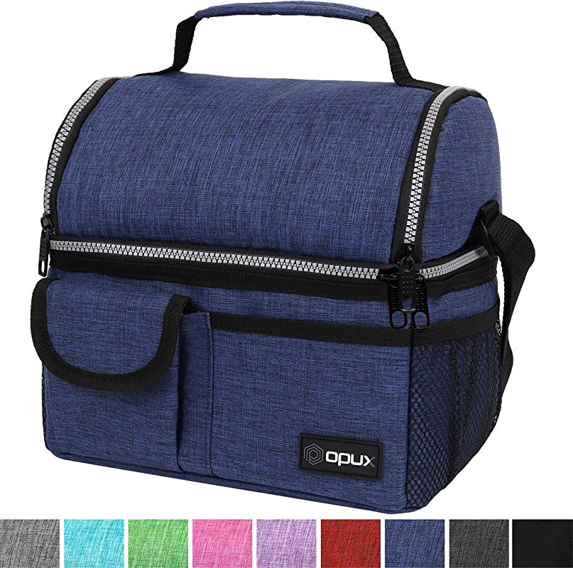 OPUX Insulated Dual Compartment Lunch Bag For Men Women Double Deck Reusable Lunch Pail Cooler Bag With Shoulder Strap Soft Leakproof Liner Large Lunch Box Tote For Work School Navy