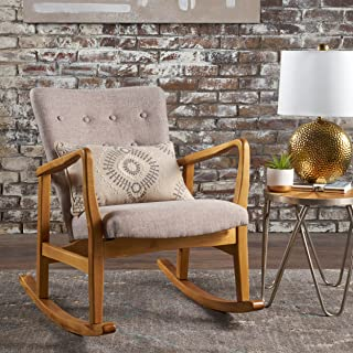 Collin Mid Century Fabric Rocking Chair (Wheat)