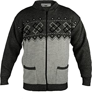 Mens Full Zip Cardigan S-4XL Diamond Print Zipper Argyle Gents Blue Brown Grey Charcoal Burgundy Beige Green Made in The UK