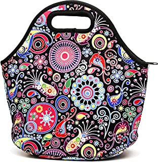Neoprene Insulated Lunch Bag For Women Cooler Lunch Box For Adult Waterproof Lunch Tote Bag - Black Flower