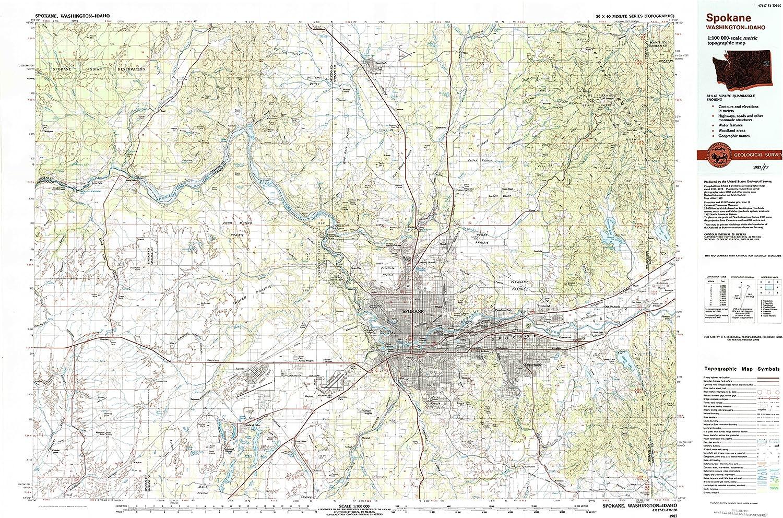 Spokane WA topo map, 1 100000 Scale, 30 X 60 Minute, Historical, 1987, Updated 1987, 24.1 x 37 in