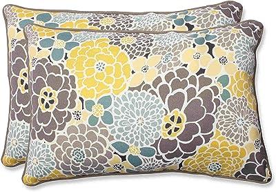 """Pillow Perfect Outdoor/Indoor Lois Vapor Oversized Lumbar Pillows, 24.5"""" x 16.5"""", Blue, 2 Pack"""