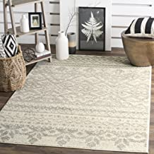 Safavieh Adirondack Collection ADR107B Ivory and Silver Rustic Bohemian Square Area Rug (4' Square)