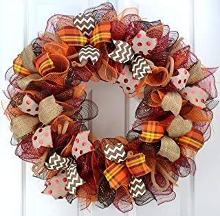 Fall Wreath | Maroon and Orange Fall Thanksgiving Burlap Deco Mesh Door Wreath; Yellow White : F2