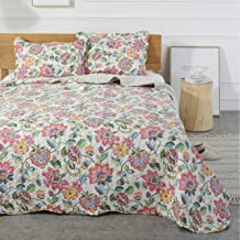 Mohap Floral Quilt Set 3 Piece Queen Size Soft and Breathable for All Season Bedspread 1 Quilt and 2 Matching Shams Boho Style