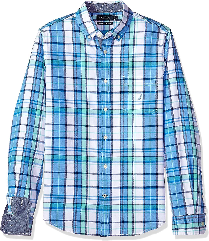 Nautica Slim Fit Stretch Plaid Long Sleeve Button Down Shirt