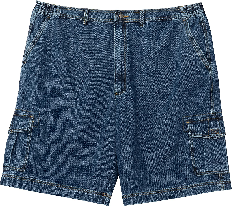 Full Blue Big Mens Denim Cargo Short (50)
