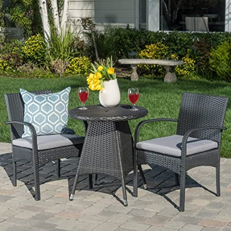 Amazon Com Christopher Knight Home Peterson Outdoor Wicker Bistro Set With Cushions 3 Pcs Set Grey Garden Outdoor