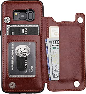 S8 Case Wallet with Card Holder, Vaburs Premium PU Leather Double Magnetic Buttons Flip Shockproof Protective Cover for Samsung Galaxy S8 (Brown)