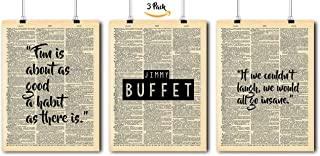 Famous Quotes Art - Jimmy Buffet - 3 Print Set - Vintage Dictionary Print 8x10 Home Vintage Art Prints Wall Art for Home Decor Wall Decorations For Living Room Bedroom Office Jimmy Buffet