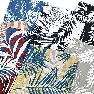 "ZAIONE 7pcs/Set Palm Tree Leaves Pattern Printed 100% Cotton Poplin Fabric Bundle 18"" x 22"" Natural Spring Summer Leaf Sew..."