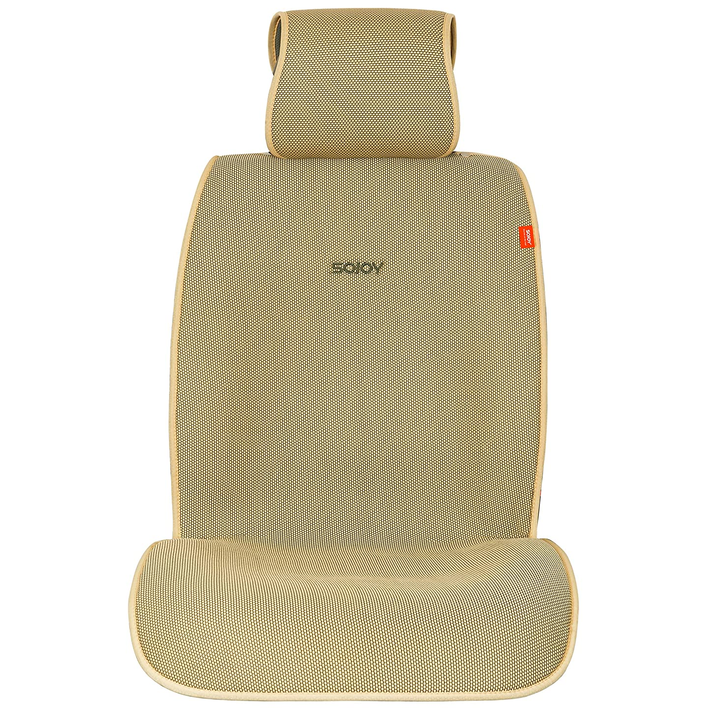 Sojoy IsoTowel Car Seat Cover. Microfiber Seat Protector, with Quick-Dry, No-Slip Technology. Car seat Protection for All Workouts, All-Weather Honeycomb Cloth (Tan and Cream)