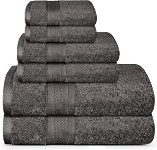 TRIDENT Soft and Plush, 100% Cotton, Highly Absorbent, Bathroom Towels, Super Soft, 6 Piece Towel Set (2 Bath Towels, 2 Ha...