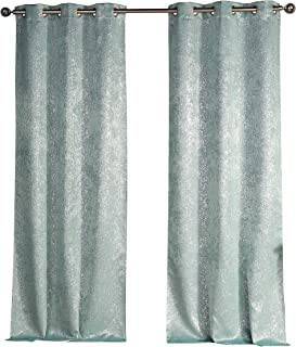 Duck River Solid Blackout Curtain for Bedroom, 38x96 (2 Pieces), Robins Egg Blue