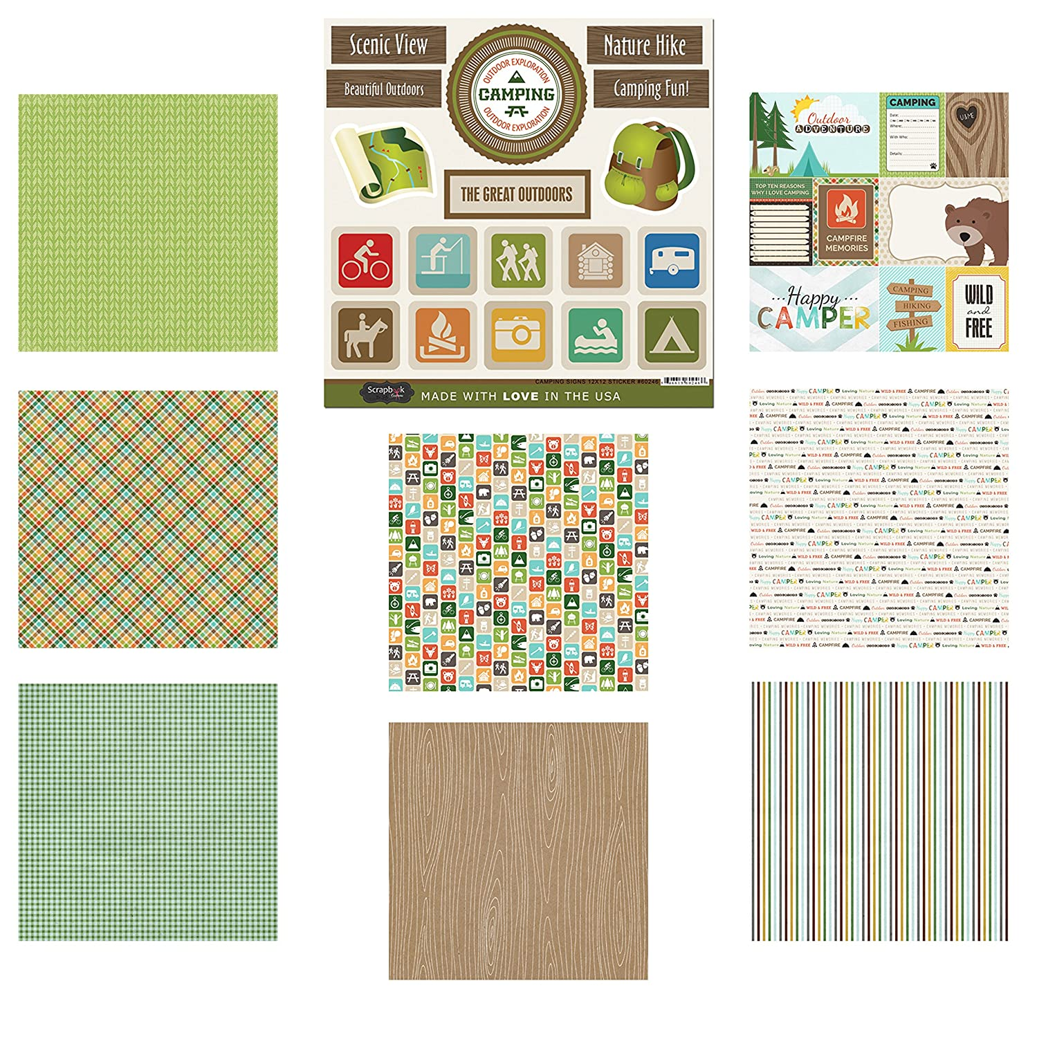 Scrapbook Customs Themed Paper and Stickers Scrapbook Kit, Camping