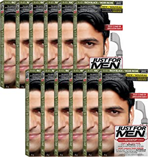 Just For Men AutoStop Men's Comb-In Hair Color, Rich Black (Pack of 12)