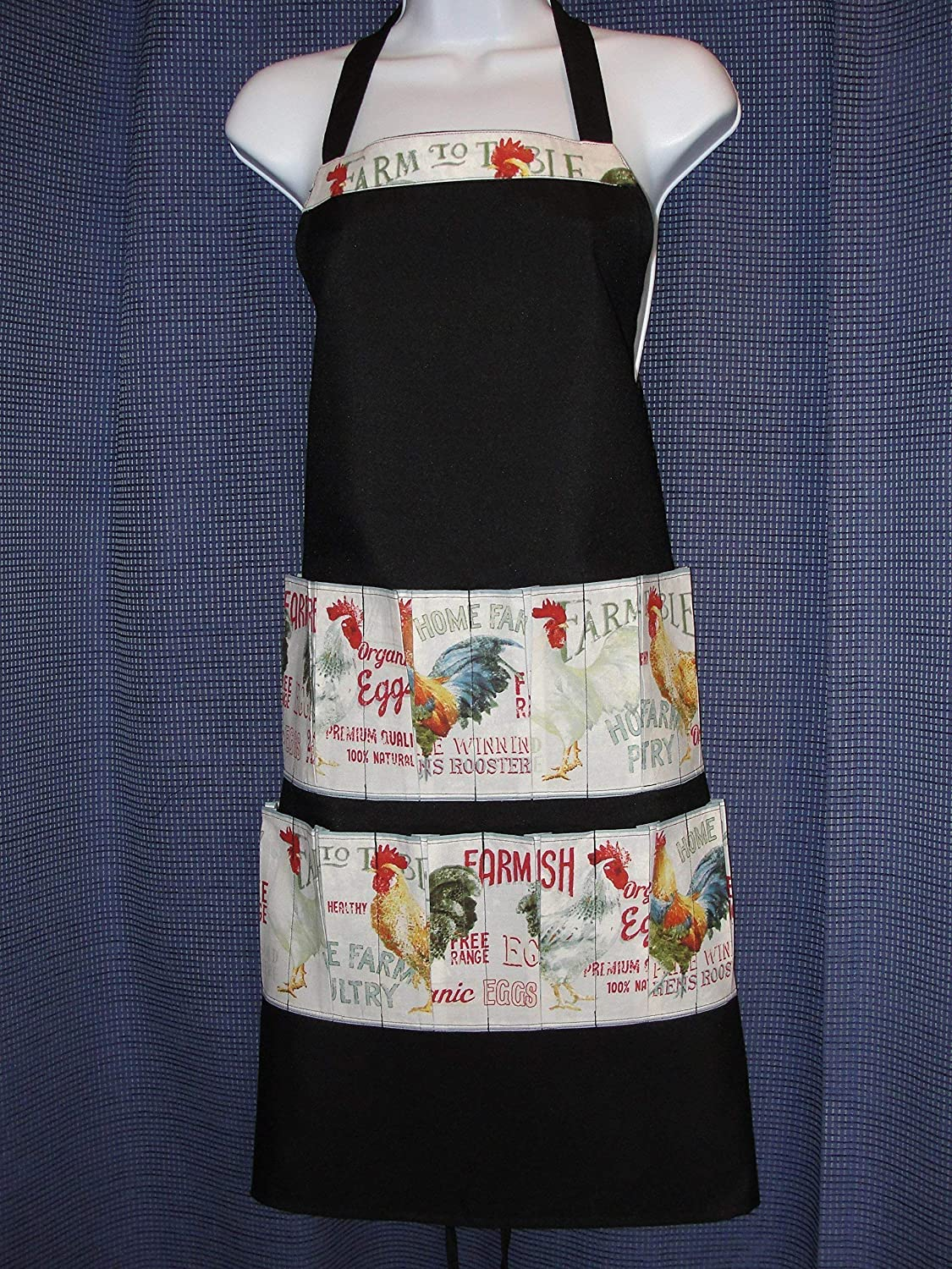 Bib Apron 12-Pockets Handmade Black Holds Ranking TOP9 Eggs chickens Max 59% OFF with