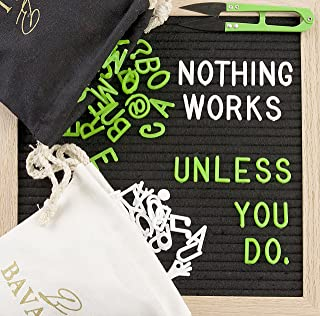 BAVALON Felt Letter Board 10x10 Inches   Changeable Letter Boards Include 712 White & Green Plastic Letters & Oak Frame, Two Canvas Bags, Wall Mounting, eBook, and Scissors   Durable Felt Board.