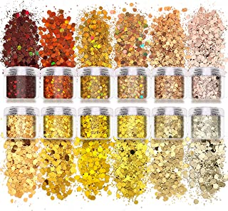 Laza 120g 12 Boxes Body Glitter Chunky Nail Mixed Holographic Hexagon Kit Gold Festival Sequin for DIY Decoration Drops- G...