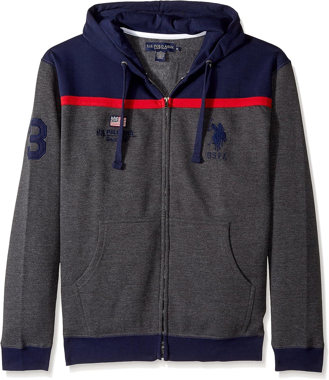 U.S. Polo Assn. mens11-3339-90color Block Fleece Hooded Jacket Hooded Sweatshirt