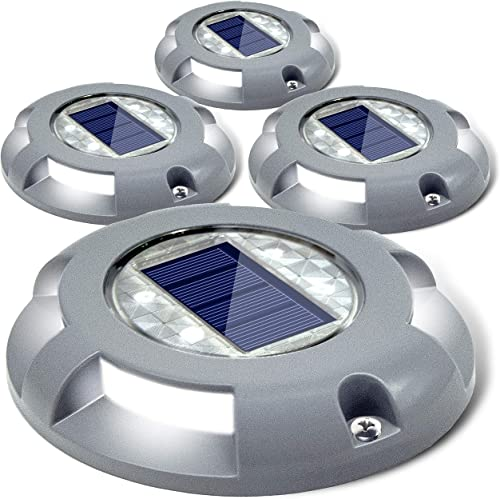 Siedinlar Solar Deck Lights Driveway Dock LED Light Solar Powered Outdoor Waterproof Road Markers for Step Sidewalk S...