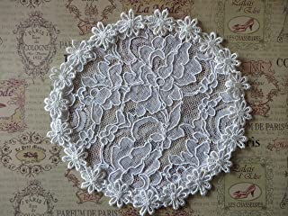 Handmade white lace hair doily head cover with daisy trim, Women`s Kippah, Lady`s Yarmulke (with decorative bobby pin) (Style 224) Elegant Doily Exclusive