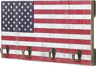 MyGift 4-Hook American Flag Design Wood Wall Mounted Key Rack