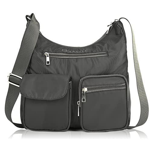 Suvelle Lightweight Carryall Travel RFID Blocking Protection Crossbody Bag  Multi Pocket Shoulder Handbag BA10 11c65234e8096