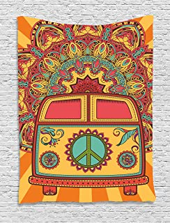 Ambesonne 70s Party Tapestry, Hippie Vintage Mini Van Ornamental Backdrop with Peace Sign Artwork, Wall Hanging for Bedroom Living Room Dorm Decor, 40