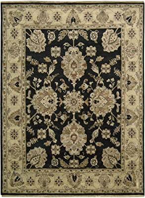 "Nourison Tajik (TJ03) Black Rectangle Area Rug, 5-Feet 6-Inches by 8-Feet (5'6"" x 8')"