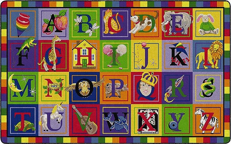 Flagship Carpets FE111 44A ABC Blocks Children S Classroom Educational Rug 7 6 X12 Rectangle