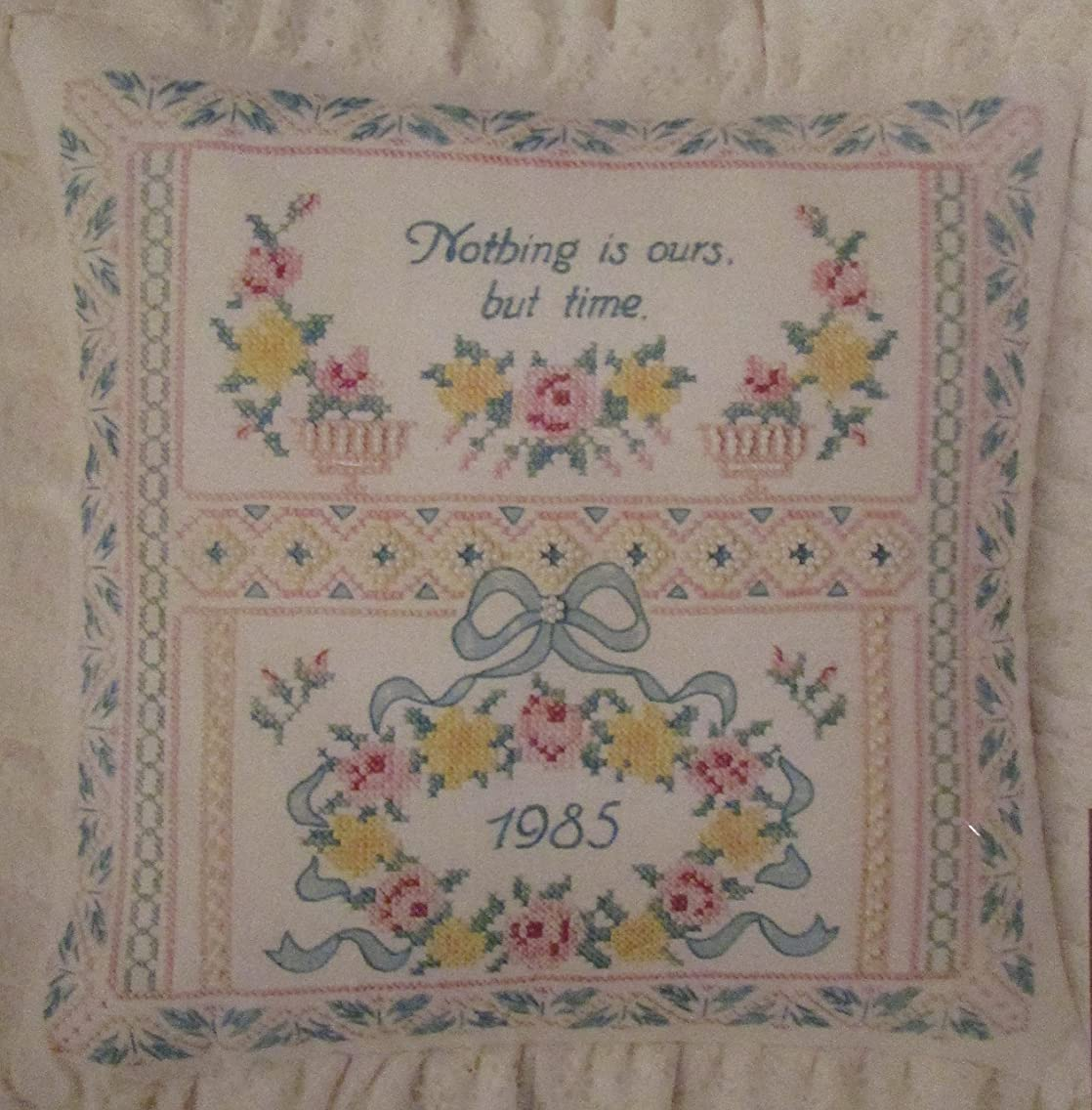 Columbia Minerva Stamper Cross Stitch Kit - Traditional Sampler Pillow or Picture - Nothing is Ours But Time - Kit # 6954 - 14