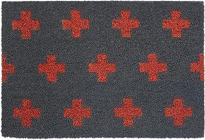 Premier Housewares Crosses Doormat, Grey/Red, Coir, PVC, 40 x 60 x 2 cm