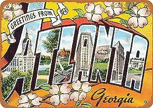 Wall-Color 7 x 10 Metal Sign - Greetings from Atlanta - Vintage Look
