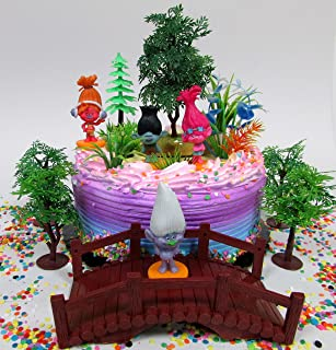 TROLLS 25 Piece Birthday Cake Topper Set Featuring Trolls and Friends Characters and Other Decorative Themed Accessories