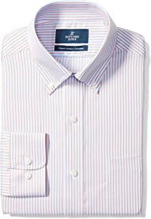"Buttoned Down Men's Classic Fit Button-Collar Pattern Non-Iron Dress Shirt, Orange/Blue Stripe, 19"" Neck 39"" Sleeve (Big and Tall)"