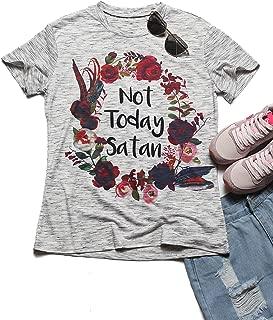 Women Flower Print Not Today Satan O-Neck T-Shirt Summer Casual Tops