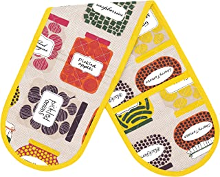 Thread Spread 100% Cotton Double Oven Glove/Mitt, 7.5 - inch by 35 - inch Designed in France Confiture Collection