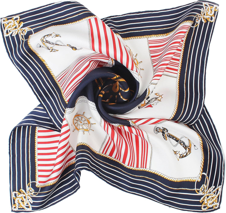 DEERLAND Silk Twill Square Scarf, Hand Rolled, 21.5'' x 21.5'' (100% Silk Scarf)
