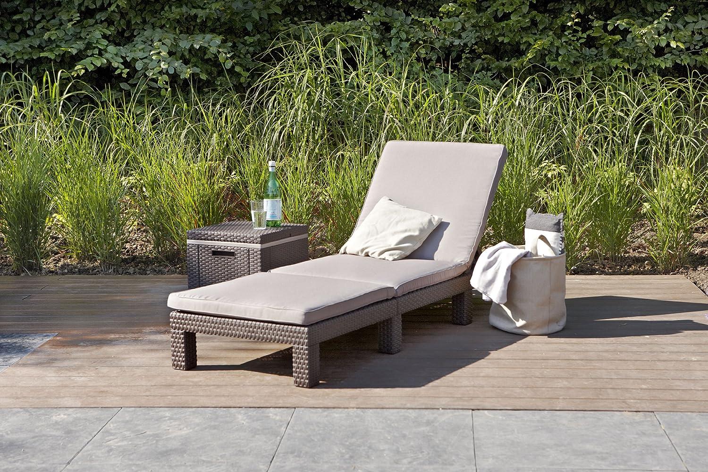 Koll Living Gartenliege Sonnenliege Sunlocker in braun, inkl. passender Auflage, aus Kunststoff in Rattanoptik, witterungsBestendig und langlebig, 4-Fach verstellbare Rückenlehne