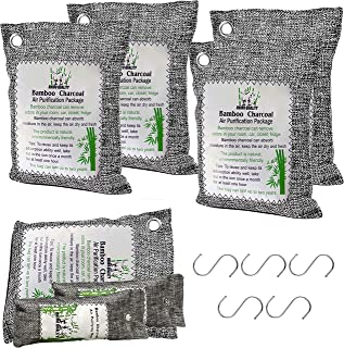 Bamboo Charcoal Air Purifying Bag 4 Pack 200g (+ 3 Bonus Bags + 5 Hooks Included), an Amazing Odor Eliminator for Home, Ca...